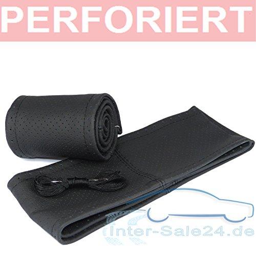 L&P Car Design GmbH Lenkradbezug Lenkradhülle Lenkradschoner aus 100% Echtleder Leder Universallenkradbezug (Schwarz perforiert mit schwarzer Naht für Lenkraddurchmesser 36-37cm)