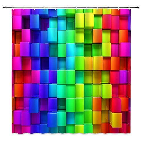 BST Regenbogen Geometric Plaid Duschvorhang Neon Regenbogen Farbverlauf Farbe Kreative Bunte Badezimmer Gardinen Dekor Polyester Stoff Schnelltrocknen Inklusive Haken