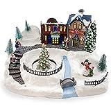 Mediawave Store - Pueblo navideño nevado, carrusel con luces y sonidos movimientos, carrusel navideño, escenario de Navidad, paisaje con casas de árboles y nieve, 37 x 21 x 27 cm, decoraciones.