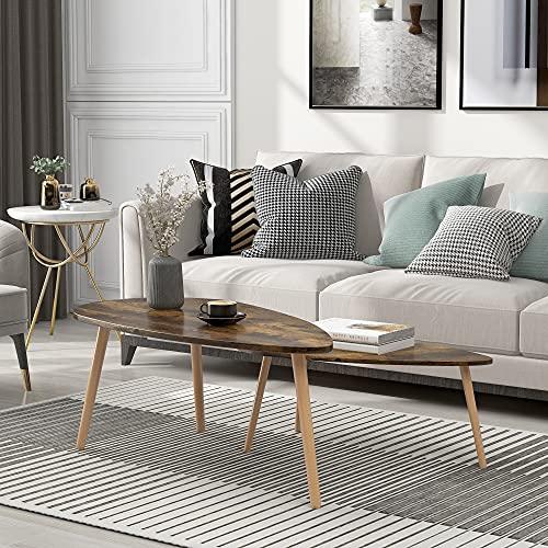 Mesas de centro Nesting Coffees Mesa auxiliar moderna decorativa triangular mesa de pie para salón en casa y en la oficina, juego de 2, color marrón