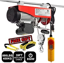 Partsam 880 lbs Lift Electric Hoist Crane Remote Control Power System, Zinc-Plated Steel Wire Overhead Crane Garage Ceiling Pulley Winch w/Premium Straps (UL/CUL Approval, w/Emergency Stop Switch)