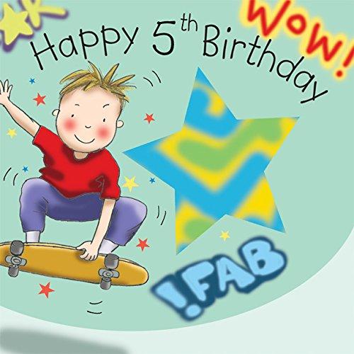 twizler 5. Geburtstag für Jungen, mit Skateboard–Fünf Jahre Alt–Alter 5–Kinder Geburtstag Karte–Jungen Geburtstag–Happy Birthday Karte
