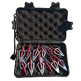 SHARROW 12pcs Puntas de Flechas 2 Hojas Cuchillas Agudas Broadhead 100 Grains con Caja para Flechas de Ballesta Pernos Flechas de Carbono (Rojo)