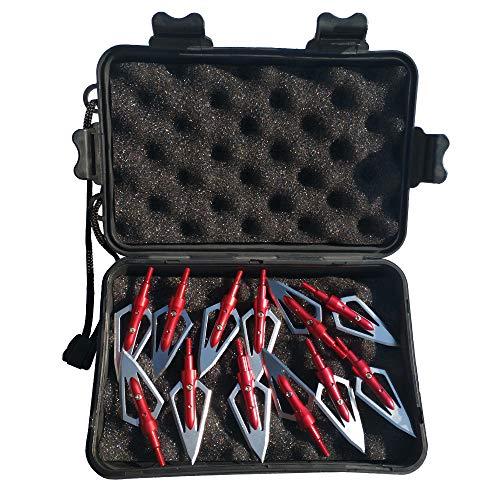 12pcs Punta di Freccia 2 Lame 100Grains Testa Larga con Scatola di Broadhead Box per Frecce Balestra di Carbonio