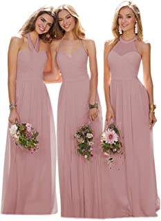 Women's A Line Pleated Halter Bridesmaid Dress Long Evening