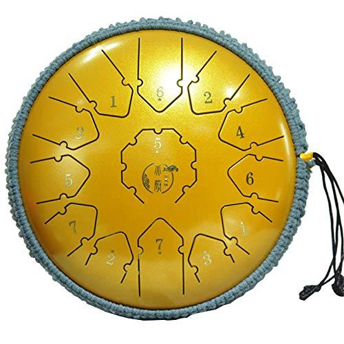 Wsaman Brahma Trommel Instrument Lotus Drum, 13 Tone 12 Zoll Zungentrommel mit Musikbuch und Reichem Zubehör für Meditation Yoga Musiktherapie Camping,4