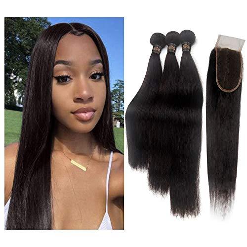 "STfantasy Human Hair Closure 4""x4"" Free Part Lace Closure 100% Brazilian Virgin with Hair Bundles Straight Unprocessed Hair Extensions"