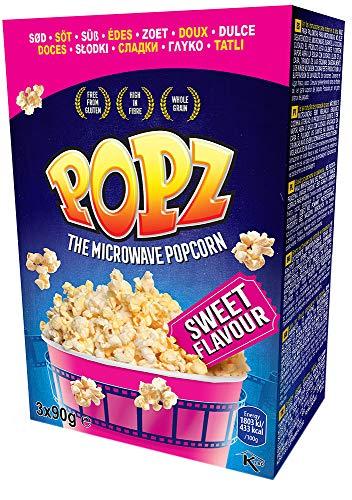 Popz Popz Sweet, Popcorn Mais für das perfekte Filmerlebnis zu Hause, Mikrowellenpopcorn mit leckerem süßen Geschmack, 270 g