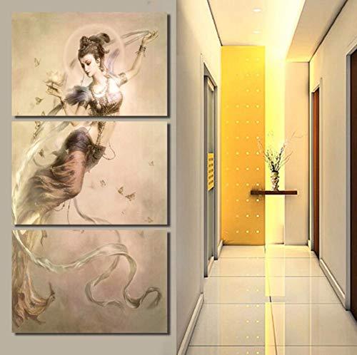 Juabc Imprimir 3 Paneles Arte De La Pintura En La Pared Lienzo Dunhuang Mogao Grottoes Pintura Especular Arte Lienzo Pinturas Decoración Para El Hogar Imagen De Pared Sin Marco 40X60Cmx3Pcs