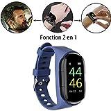 2 en 1 Montre Smart Watch avec Bluetooth,M1 AI Écouteur Montre Intelligente,Etanche TWS sans Fil Bluetooth Moniteur De Fréquence Cardiaque du Sang Kcal Sport Bracelet Intelligent Longue Veille