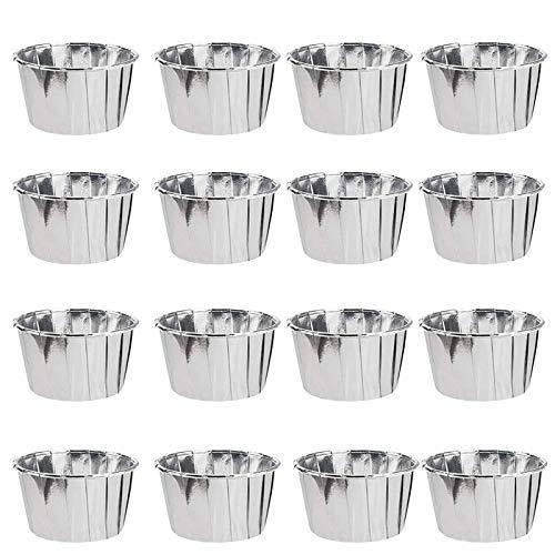 YOUYIKE Moldes para Magdalenas, 50 Tazas para Hornear Magdalenas, Moldes Papel de Aluminio, Moldes Magdalenas Papel, Papel para Cupcakes, Moldes para Hornear (Plateado)