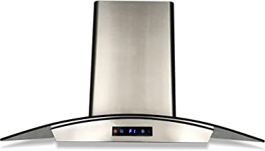 CAVALIERE SV198D-30E Wall-Mounted Stainless Steel Range Hood with Tempered Glass Canopy and Baffle Filters