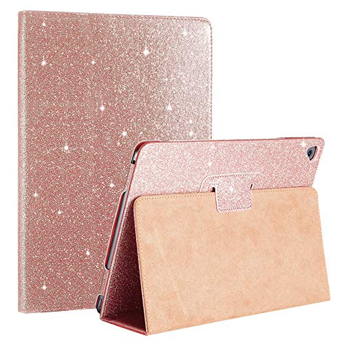 FAN SONG iPad Air 1/2 Case Glitter, iPad Cases 5th 6th Generation Bling Sparkle Leather [Flip Stand] [Auto Sleep/Wake] Universal Smart Cover for Apple iPad 2018/2017 / Pro 9.7-inch, Rose Gold