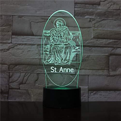 Vision Creative 7 Colors St Anne Modelling 3D Led Desk Lamp Gifts Usb Jesus Cross Bedside Night Light Lighting Decor 1869