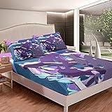 Juego de sábanas de mármol, color morado, azul, sábana bajera ajustable para niños, niñas, niños, adolescentes, patrón de graffiti, funda de cama, tamaño individual con 1 funda de almohada
