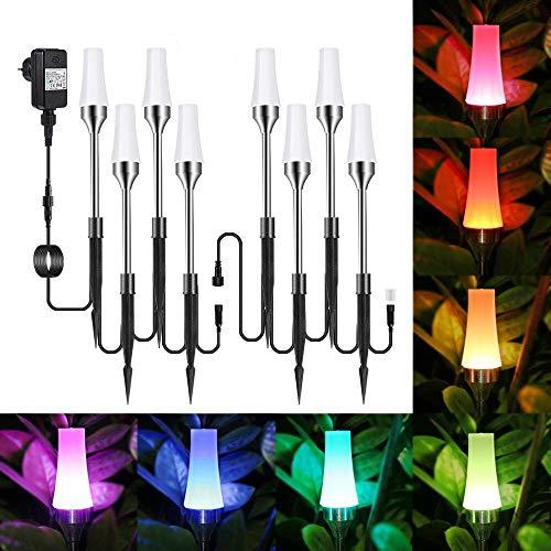 Gartenbeleuchtung RGB, ECOWHO 8er Set Gartenleuchte mit Erdspieß,IP65 Wasserdicht LED Gartenstrahler mit Stecker, Automatischer Farbwechsel Gartenlampe Wegleuchte Lichter für Weg, Hof, Rasen