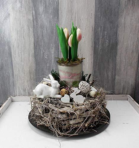Ostergesteck, Gesteck Ostern, Tischgesteck mit Tulpen, Hase