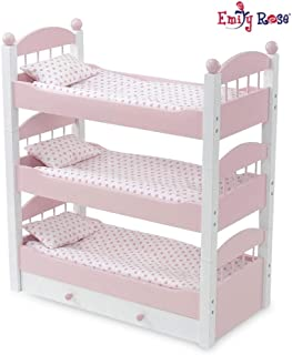 Emily Rose 18 Inch Doll Bed Furniture for American Girl Dolls | Doll Triple Bunk Bed, Includes 3 Stackable Single Beds and 18 Inch Doll Clothes Storage Trundle Drawer | Fits 18