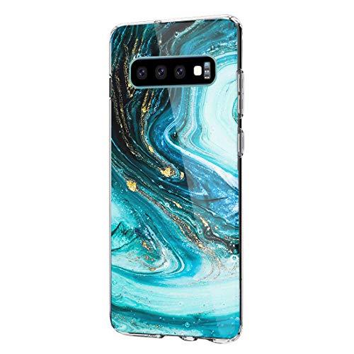 Beryerbi Hülle kompatibel mit galaxy S10/S10 Plus/S10e, Weiche Clear Muster TPU Transparent Flexibel Silikon Schlank Blühen Blumen Bumper Case mit Hart Plastik Hülle (Samsung galaxy S10, 3)