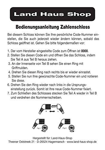 Land-Haus-Shop® Fahrradzahlenschloss 65 cm, Stahlseil ummantelt, Fahrrad Zahlen Schloss (Blau) - 5