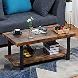 Sedeta Rustic Natural Coffee Table, Industrial Coffee Table with Storage Bottom Open Shelf, Wood and Frame Legs Metal Rectangle Coffee Table for Living Room, Easy Assembly, Espresso