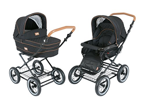 Luxury Roan Kortina 2-in-1 Pram Stroller Pushchair with Big Baby Bassinet and Toddler Reclining Seat with Five Point Safety System UV Proof Canopy and Storage Basket for Child up to 3 Year (Graphite)
