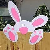 Watopi - Juego de Carteles Suaves de Pascua con diseño de Conejos de Pascua para decoración de Vallas, Puertas, Paredes, Fiestas, jardín