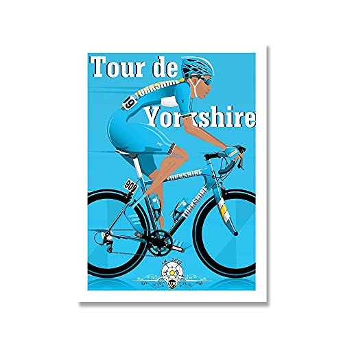 YINGFUN Deportes Bicicleta Ciclismo Lienzo Pintura Vintage Tour Paisaje Francia Gran Bretaña Ciclista Cartel de la Pared Imprimir imágenes Decoración del hogar (Color : E, Size : 40x50cm No Frame)