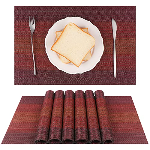 YeaBerr Placemats Set of 6 for Dining Table, Red Non-Slip Woven Vinyl Heat-Resistant Washable Kitchen Table Mats Easy to Clean