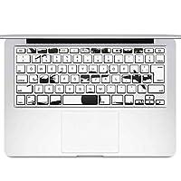 igsticker MacBook Air 13inch 2010 ~ 2017 専用 キーボード用スキンシール キートップ ステッカー A1466 A1369 Apple マックブック エア ノートパソコン アクセサリー 保護 010028 乗り物 シンプル 白 黒