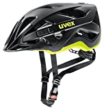 Uvex Active CC Casco Ciclismo, Unisex Adulto, Black-Yellow Mat, 56-60 cm