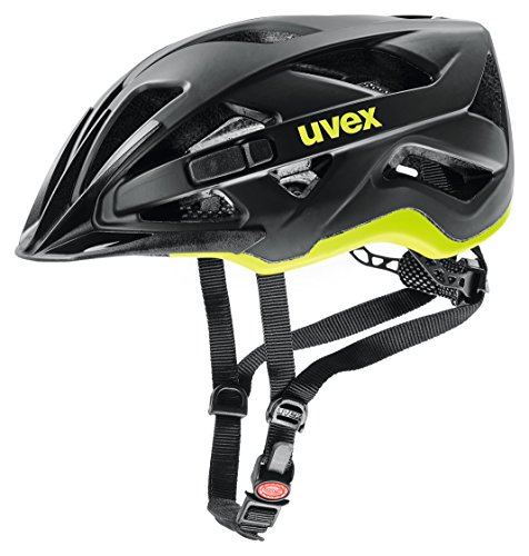 uvex Unisex– Erwachsene, active cc Fahrradhelm, black-yellow mat, 52-57 cm
