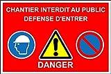 Chantier Interdit au Public défense d'entrer - 1.2mm en Plastique 400mm x 300mm
