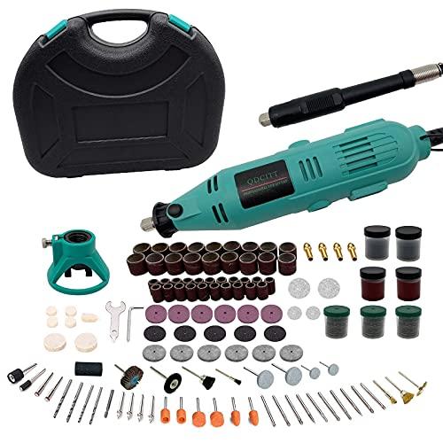 Mini Amoladora Eléctrica , 130W Mini Taladro Herramienta Rotativa Multifunción con Drill Locator/Eje Flexible/Portabrocas Sin Llave/ 250 Accesorios para Manualidad para cortar, lijar, pulir