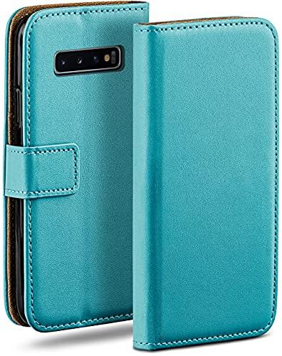 moex Klapphülle für Samsung Galaxy S10 Hülle klappbar, Handyhülle mit Kartenfach, 360 Grad Schutzhülle zum klappen, Flip Hülle Book Cover, Vegan Leder Handytasche, Türkis