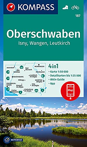 KOMPASS Wanderkarte Oberschwaben, Isny, Wangen, Leutkirch: 4in1 Wanderkarte 1:50000 mit Aktiv Guide und Detailkarten inklusive Karte zur offline ... (KOMPASS-Wanderkarten, Band 187)