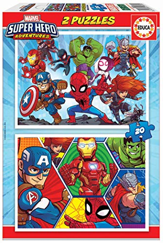 Educa- Marvel Super Heroe Adventures Puzzles, 2x20 Piezas, Multicolor (18648)