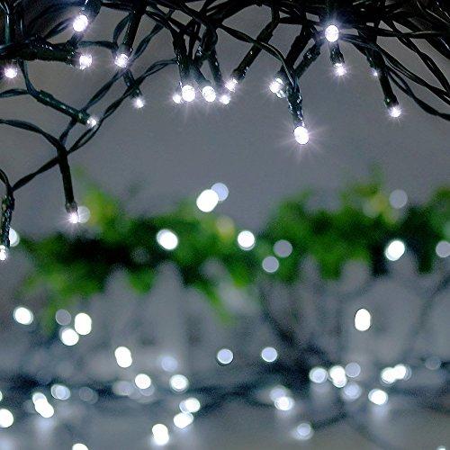 1 * 100 LED Guirlande lumineuse IP44 Etanche blanc froid 8M Lumières féériques pr Fête de Noël Jardin Chambre Terrasse (Blanc froid)