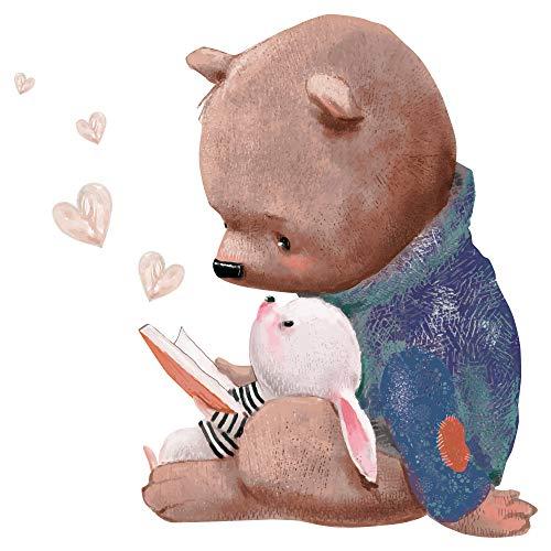 dekodino® Wandtattoo Kinderzimmer Aquarell Tiere Bär mit Hase beim Lesen Deko