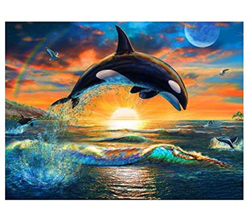 DIY 5D Diamond Painting Kits for Adults Dolphin Round Drill,60x50cm Crystal Rhinestone Pasted Pattern Embroidery Full Drill Beads Cross Stitch Supplies Arts Craft for Home Wall Sticker Decor Y4521