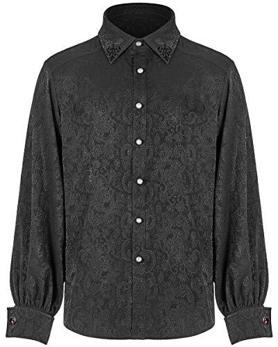Punk Rave - Camicia da uomo in stile gotico con cachemire e gemelli rossi steampunk vintage vittoriano vampiro regency Aristocrat WY-1194 Nero XXXXXL