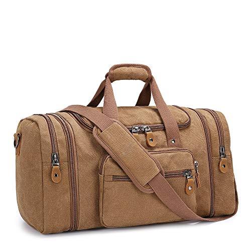 Plambag Expandable Canvas Holdall Bag for Men, 40L / 50L Large Duffel Bag for Men with Multi-Pockets, Overnight Weekend Bag, Unisex Holdall Travel Duffle Bag, Weekender Bag for Men & Women, Coffee