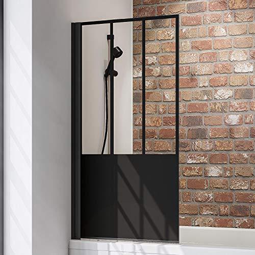 Schulte Duschwand Black Style, 80 x 140 cm, 5 mm Sicherheits-Glas Dekor Atelier 5, schwarz-matt, Duschabtrennung für Badewanne