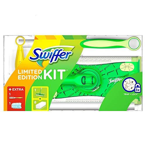 Swiffer Limited Edition Set (1 Bodenwischer und 8 Boden-Staubtücher und 1 Staubmagnet und 1 Tuch) 1er Pack