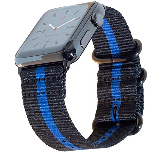"Carterjett Extra Large Thin Blue Line Nylon Compatible Apple Watch Band 44mm 42mm XL 8-10.5"" Wrists Very Long Replacement Military iWatch Band Series 5 4 3 2 1 Sport (42 44 XXL Thin Blue Line)"