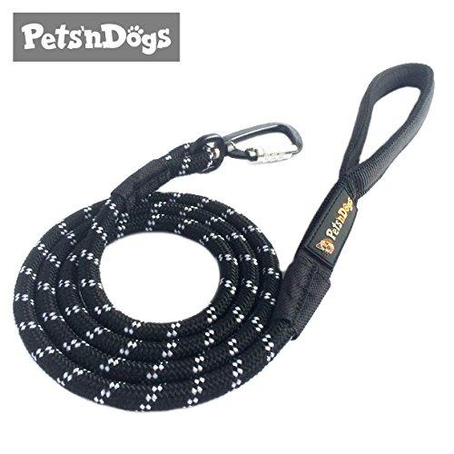 Premium Hunde-Leine aus Profi-Kletterseil & High-Performance-Karabiner inkl. 2 Gratis-Booklets | Leicht-Gewicht (ca.115g) | Softe Neopren-Handschlaufe | Sicherheits-Komponenten | Pets'nDogs (schwarz)