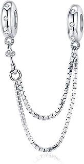 Abalorio de plata de ley 925 con cadena de seguridad, compatible con pulseras Pandora, cierre de clip, cuentas de serpient...