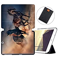 MAITTAO Galaxy Tab S2 9.7 Case T810 T815 T813 T817, Slim Folio Shell Case Stand Cover with Auto Wake/Sleep for Samsung Galaxy Tab S2 9.7 Case Inch Tablet Sleeve Bag 2 in 1 Bundle, Akhal-Teke Horse 2