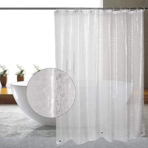FayTun Duschvorhang Anti-Schimmel,PEVA Wasserwürfel Duschvorhänge,Wasserdichter Badvorhang,Halb-transparent Shower Curtains mit 12 Vorhangring,Bad Vorhang für Badezimmer Badewanne,180 x 180 cm