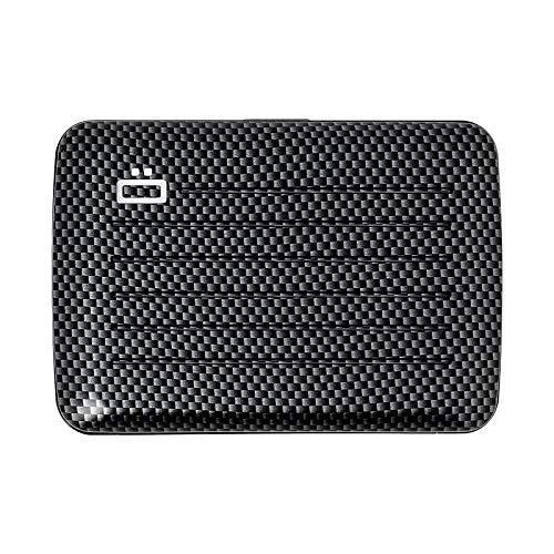 Ögon Smart Wallets - Cartera de Aluminio Stockholm V2 - Cierre de Metal -Tarjetero RFID antirrobo - Capacidad 10 Tarjetas y Billetes - Efecto Carbono/Tejido Fino